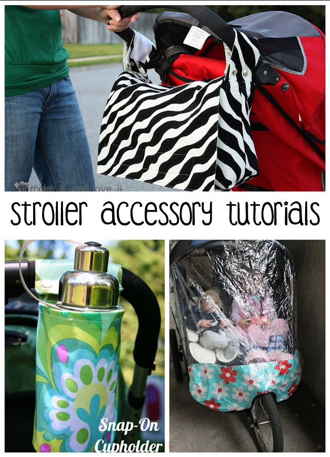 6 free sewing tutorials for stroller accessories: 1. Ultimate Stroller Cover 2. Stroller Caddy Organizer DIY Etc.