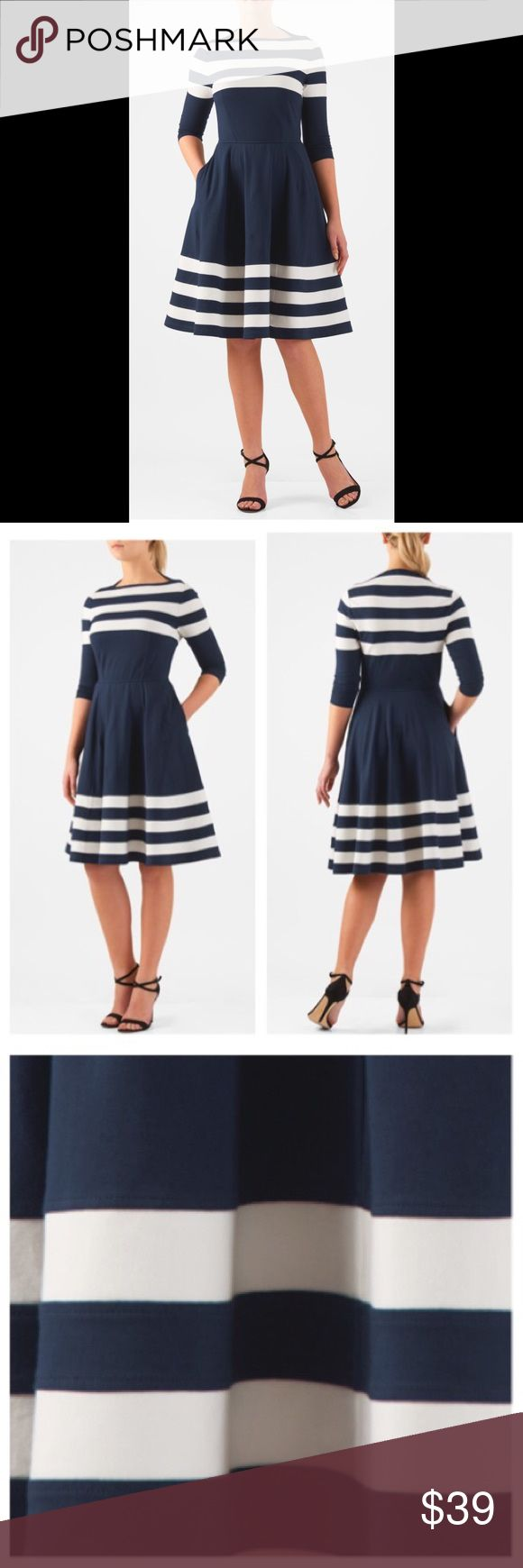 """New Eshakti Navy Fit Flare Striped Dress 16W New Eshakti navy striped fit flare dress 16W Measured flat:Underarm to underarm:41"""" Waist:35-38"""" Length:38 1/2"""" Sleeve:23"""" Eshakti size guide for 16W bust:43"""" Slips on overhead, high boat neck, nipped in elastic waist. Flared skirt w/ side seam pockets. Cotton/spandex, jersey knit, light stretch, light structured feel, mid-weight. Machine wash. New w/ cut out Eshakti tag to prevent returning to Eshakti *Sleeves of this dress are longer. Sleeves in…"""