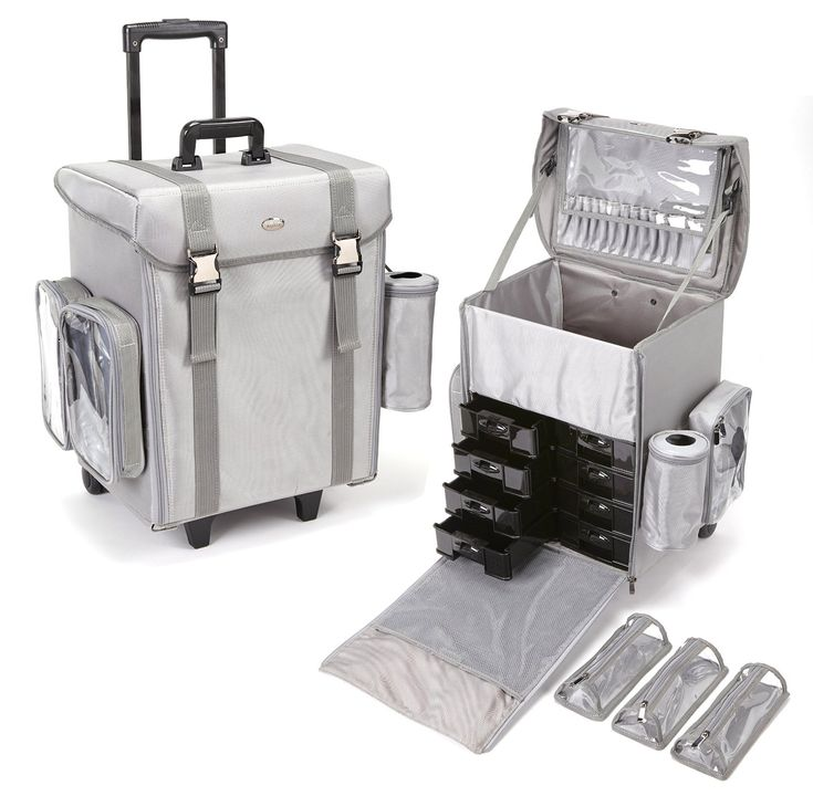 Professional Rolling Makeup Case from Seya - Available in Silver or Pink! http://mycosmeticorganizer.com/seya-professional-rolling-makeup-case/ #makeup #cosmetics