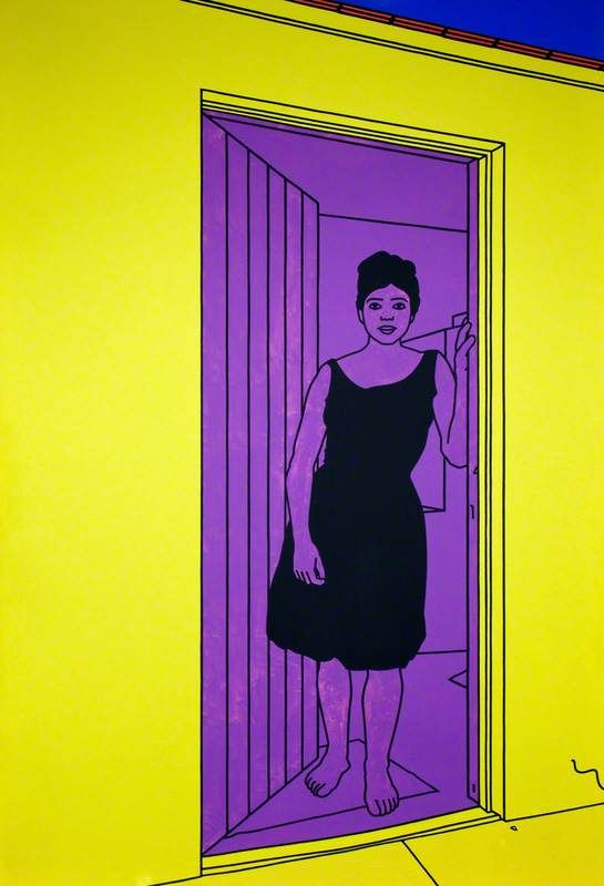 patrick caulfield(1936–2005), girl in a doorway, 1969. oil on canvas, 274.3 x 182.9 cm, national museums northern ireland, uk http://www.bbc.co.uk/arts/yourpaintings/paintings/girl-in-a-doorway-117809