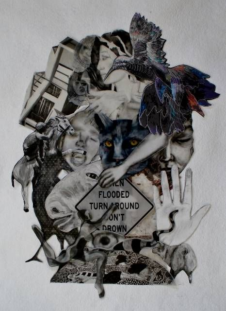 From my flood series. A collage of prints of my drawings and paintings reflecting the chaos of a natural disaster.