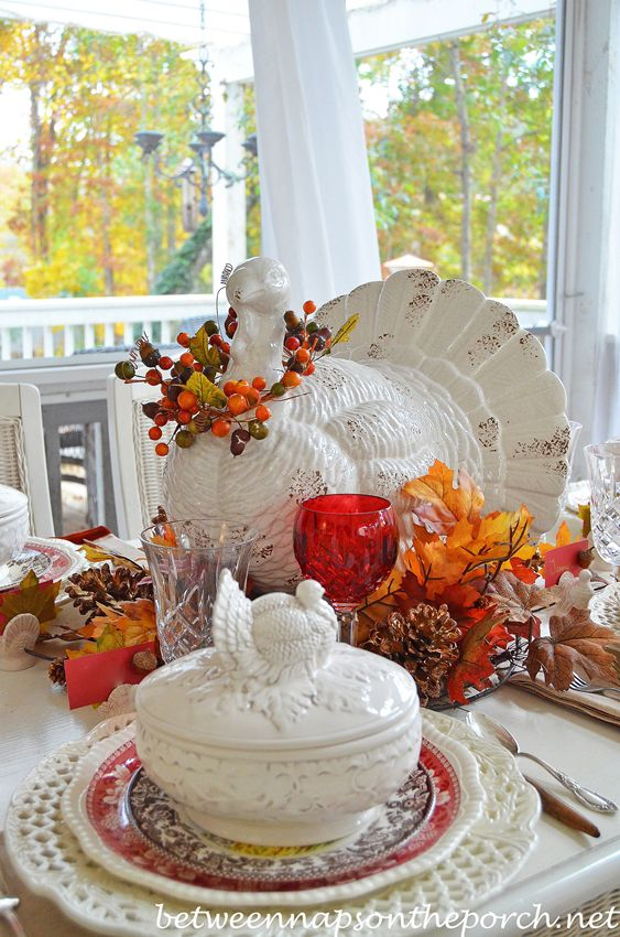 Thanksgiving Table Setting Tablescape with Spode Woodland, Copeland Spode Tower, Rustic Turkey Centerpiece and Turkey Tureens from Between Naps on the Porch.