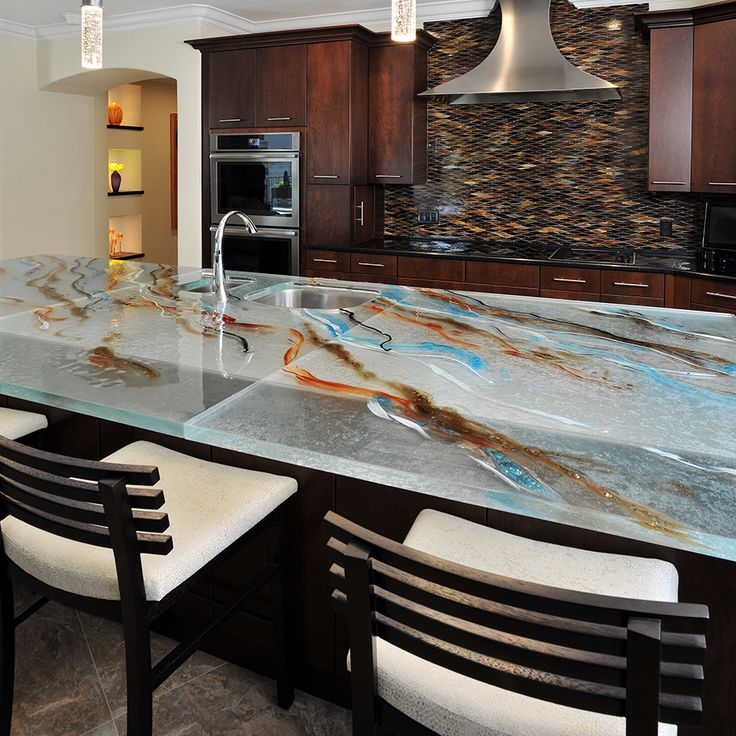 66 Best Unique Glass Kitchen Counter And Island Tops