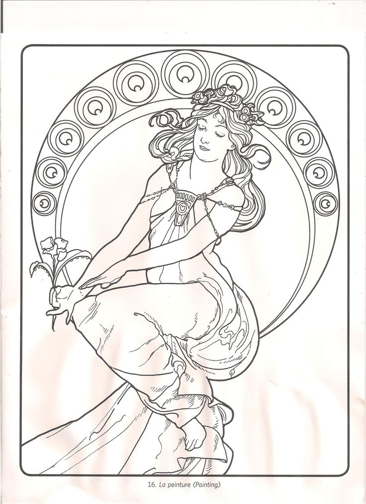 Alphonse Mucha coloring pages | Mucha Lineart by CherubiumAngles