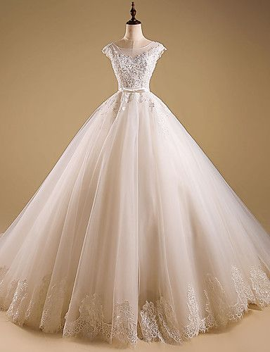 Ball Gown Wedding Dress Sweep / Brush Train Jewel Organza with Appliques…