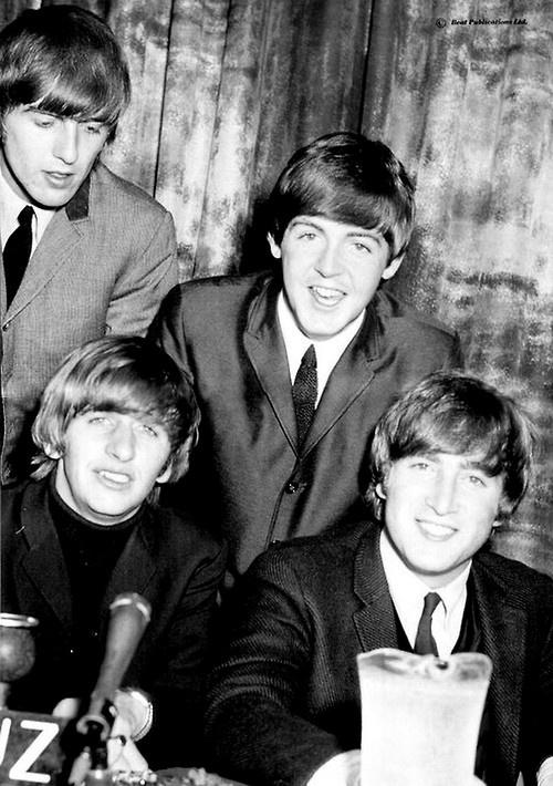George Harrison, Paul McCartney, Richard Starkey, and John Lennon