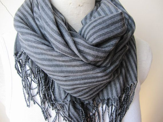 Turkije Turkse sjaal Grijs Grey Black stripe lange door Scarves2012