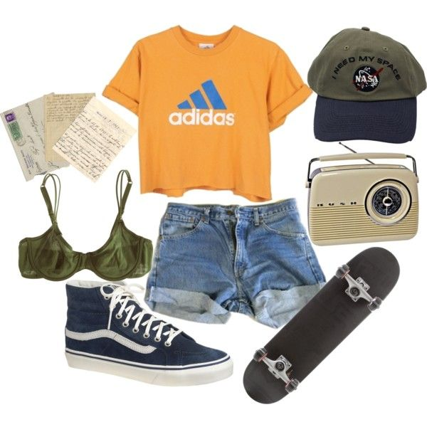 mustard yellow and blue adidas t-shirt ~ blue jean shorts ~ blue vans s8 hi shoes ~ olive green and navy blue nasa hat ~ skateboard ~ 70's polyvore ~ outfits ~ clothing