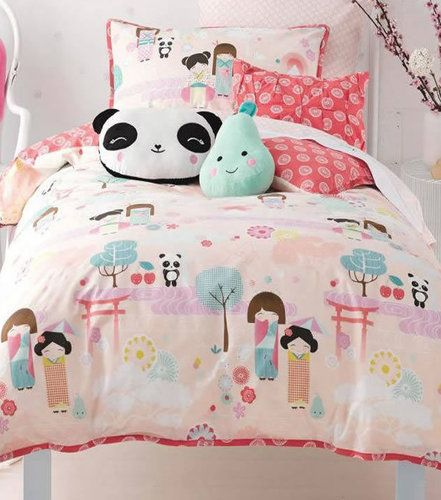Oriental Panda double bedding set with matching pillowcases in 100% Cotton from Hiccups.
