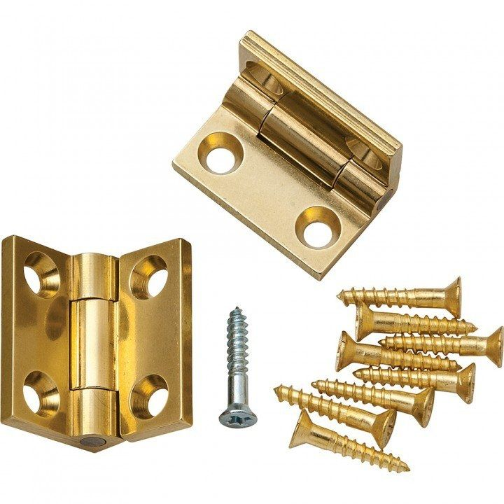 "Brusso Solid Brass 3/4"" L x 1/2"" W Small Box Stop Hinges"