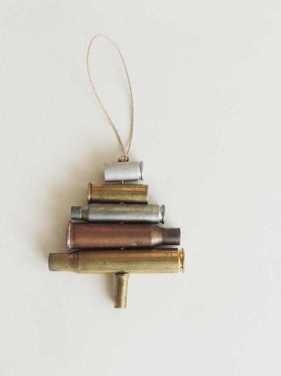 Rustic Bullet Casing Christmas Ornament Recycled Gun by NayaStudio