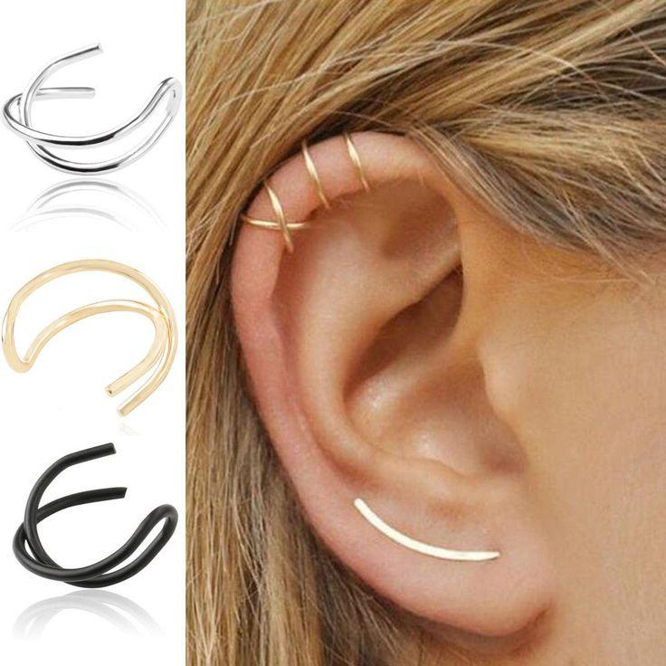 1Pcs Girls Wrap No Piercing Earrings Cuff Cartilage Ear Studs Clip On Earring