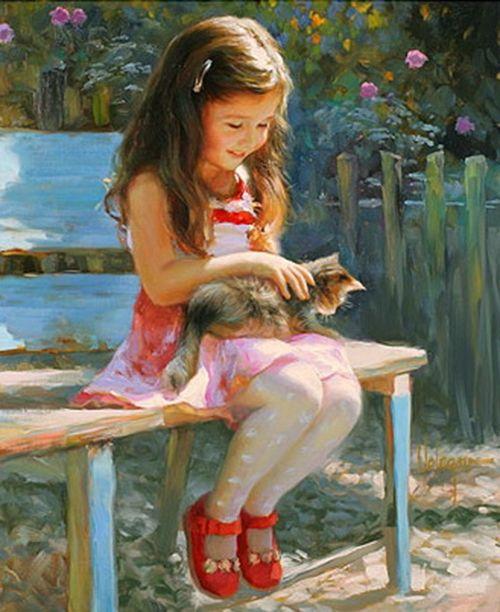 Vladimir Volegov  ...so cute...Artists, Little Girls, Painting Art, Vibrant Colors, Children, Vladimir Volegov, Art Painting, Oil Painting, Gardens Benches