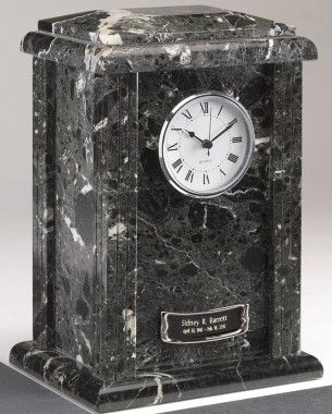 Star Legacy Clock Tower Deluxe Natural Marble Large / Adult Urn in Ebony and Black - ELE-BM-72