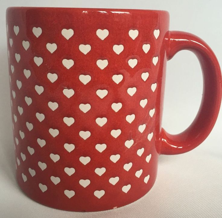 Waechtersbach Heart Coffee Mug Red With Small White Hearts
