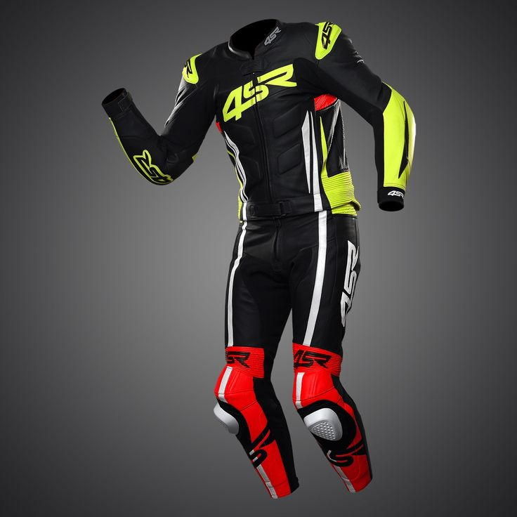 2PC racing suit Evo III NEON by 4SR As a subtle touch the fluorescent colours are not only fashionable but will catch the eye of every other road user for added safety. #racingsuit #leathersuit #leathers #2pc