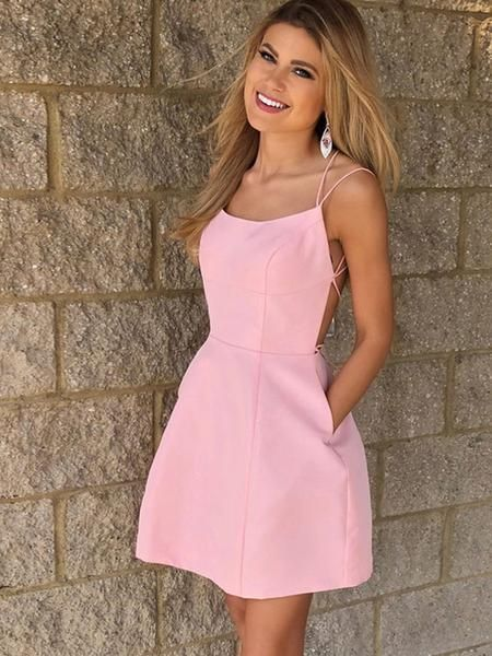 A-Line Spaghetti Straps Pink Homecoming Dresses With Pockets,VPBD335 – Homecoming/Prom