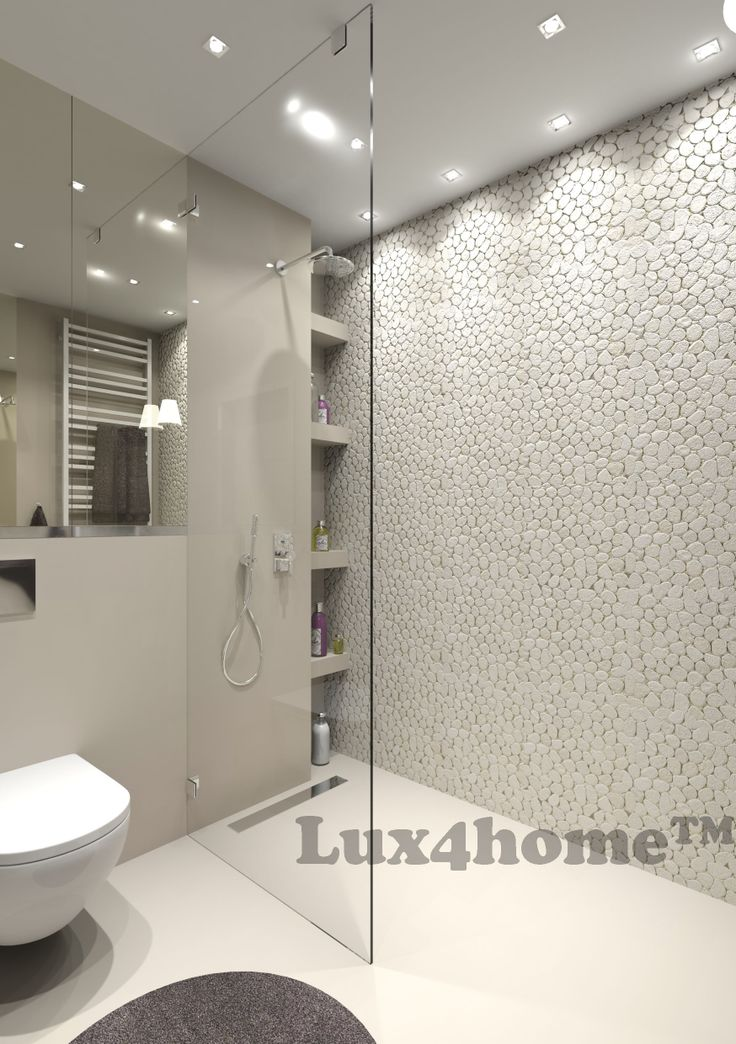 Lux4home™ White Timor Pebble Tiles shower wall