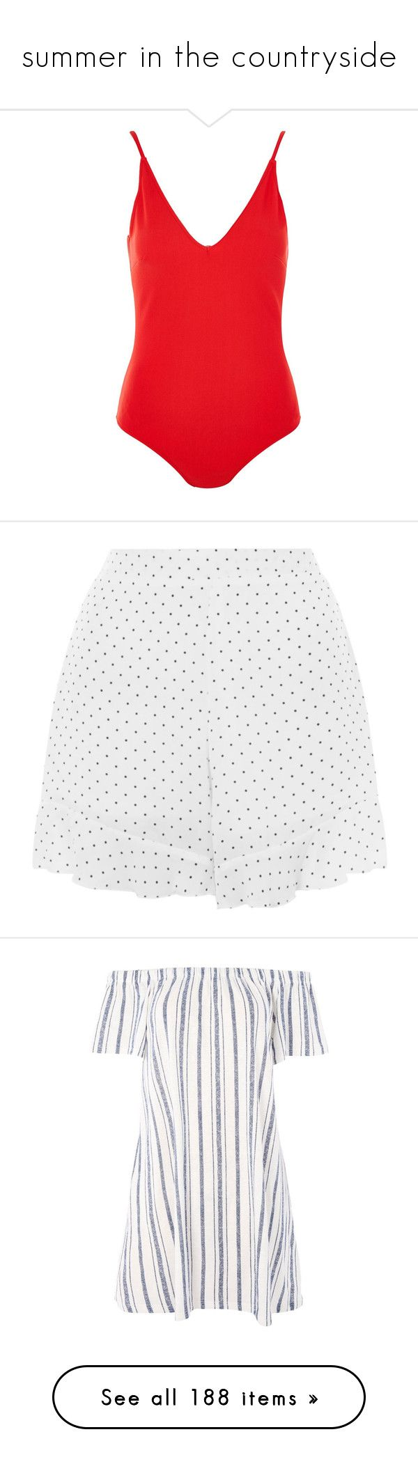 """summer in the countryside"" by lydia-rc ❤ liked on Polyvore featuring intimates, shapewear, bodysuit, red, shorts, white, high waisted stretch shorts, stretch waist shorts, white shorts and highwaist shorts"