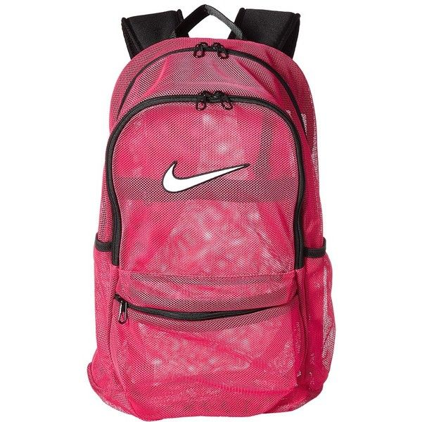 Nike Brasilia Mesh Backpack (Rush Pink/Black/White) Backpack Bags ($45) ❤ liked on Polyvore featuring bags, backpacks, black and white backpack, mesh bag, nike bags, nike backpacks and pink rucksack