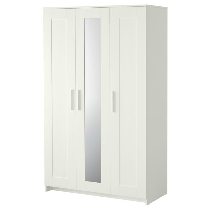 BRIMNES Wardrobe with 3 doors - IKEA, $200 for 3rd bedroom along wall? good storage, mirror can be mounted either left or right.