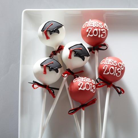 Graduation Cake Pops: bocconcini di torta decorata per la laurea. Ho un libro che tratta solo di decorazioni per cakepops... e' bellissimo. Mettero' un link al titolo su Amazon! :D mcl