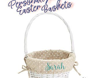Wicker Easter Basket with Liner Personalized - Polka Dot Easter Basket | Monogram Easter Basket | Personalized Basket