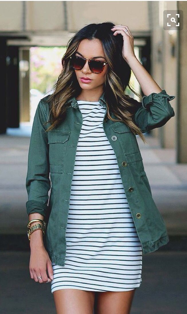 Black and white stripe dress with army green jacket. Love the sunglasses! Perfect for fall stitch fix inspiration fall and winter 2016