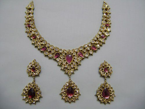 22K Gold Diamond Polki Kundan MEENAKARI Necklace Set | eBay