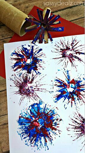 Firework craft- Neat way to use your old toilet paper rolls. :)
