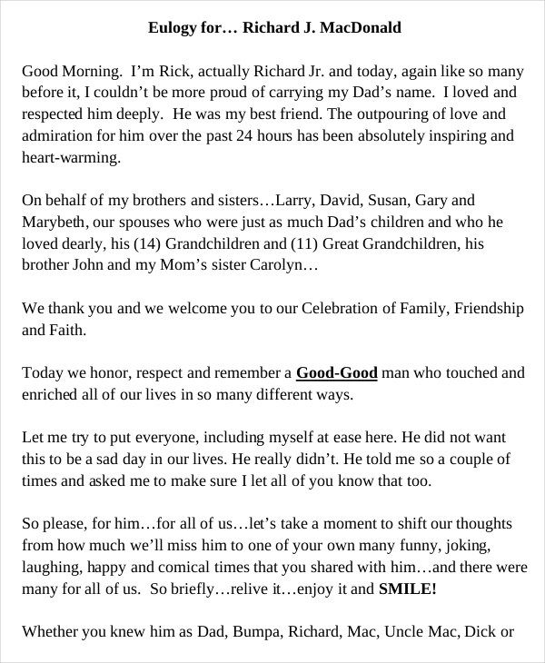 Short Obituary Examples Free Download Eulogy Examples Eulogy Eulogy For Mom