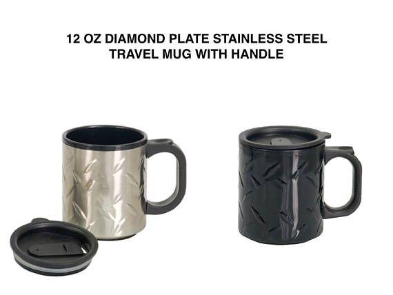6791c485aec 12 OZ Diamond Plate Stainless Steel travel mug with handle | Battleship  Beanery Coffee | Stainless steel travel mug, Mugs, Travel mug