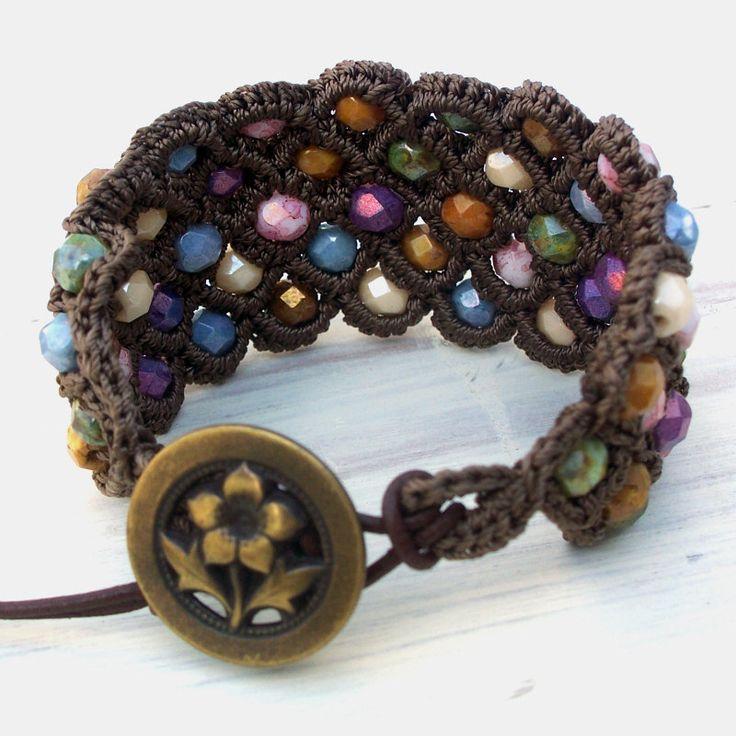 Bohemian Crochet Cuff Bracelet.  by GlowCreek etsy.