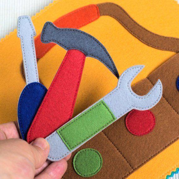Ruhiges Buch für jungen – Spielbuch – Filz – Kleinkind-Spielzeug – weiches Buch Buch – erstes Buch – Kleinkind – Baby Activity Book – Stoffbuch – Kinder nähen