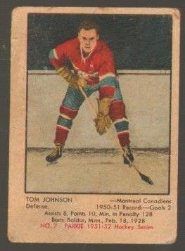 #7 Tom Johnson (1951-1952) - Parkhurst Products Ice Hockey card. New on http://colnect.com/sports_cards