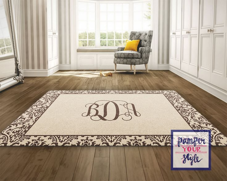 Tan and Brown Custom Area Rug - Personalized Living Room Rug - Monogrammed Bedroom Rug - Custom Design Rug by PAMPERYOURSTYLE on Etsy