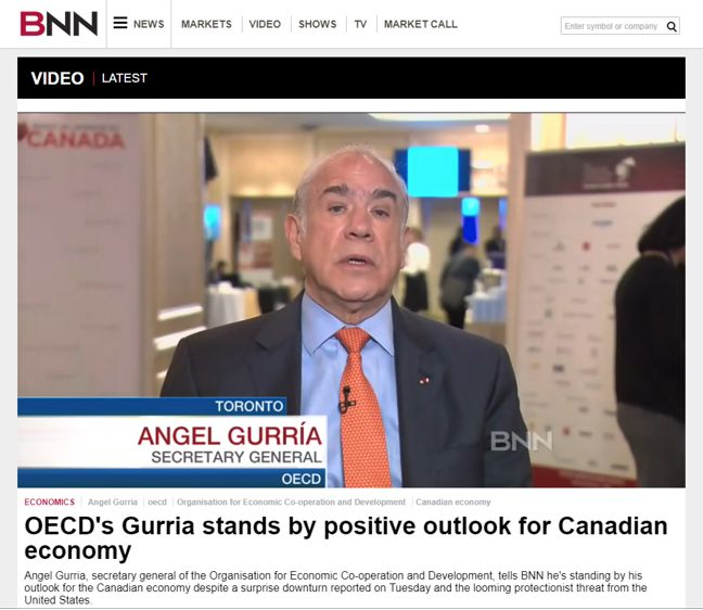 OECD's Gurria stands by positive outlook for Canadian Economy