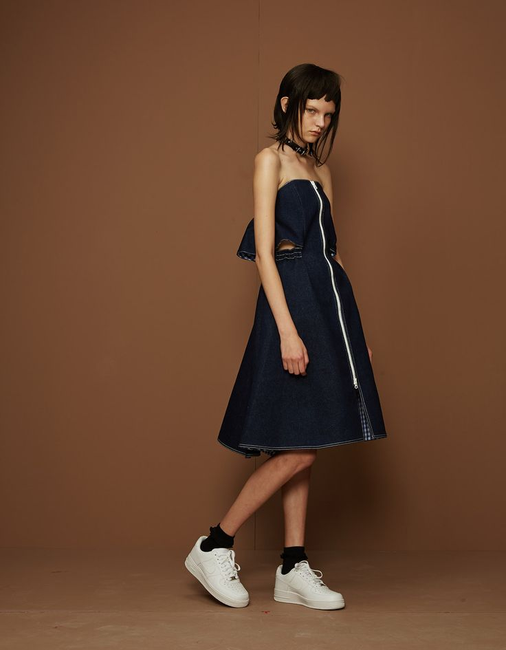A denim off-the-shoulder dress in Shushu/Tong's Opening Ceremony collection.