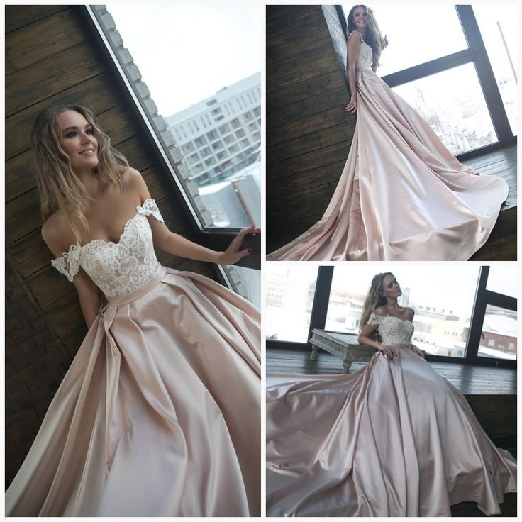A silhuette satin with straps wedding dress Alisy by Olivia Bottega. Open top with cord lace and lac