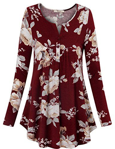 a35def56ee8e Comfy Tunic Tops Bebonnie Womens Scoop Neck Long Sleeve A Line Floral Shirt  Slim fit Loose Fit Flowy Top Casual Blouse Multicolor Red L *** Want to  know ...