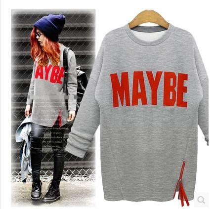 New Autumn Winter Women Harajuku Casual Letter Print Fleece Long Sleeve Sweatshirt Tracksuit Plus Size Clothes Cheap