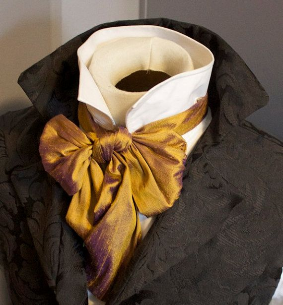 This is a NEW item, never worn. Handmade & professionally designed.  AVAILABLE IN OTHER COLORS - Email me for requests!  This is a Regency cravat, long and of uniform length with squared ends. Wear them with cravat pins to anchor the style. Can also be worn in a bow. Request shaped ends.   For weddings? We do quantity, color matching, and boys sizes. Email for details.  ---------------------------------------------------------  It is a self-tie cravat, and instructions on how to tie are…