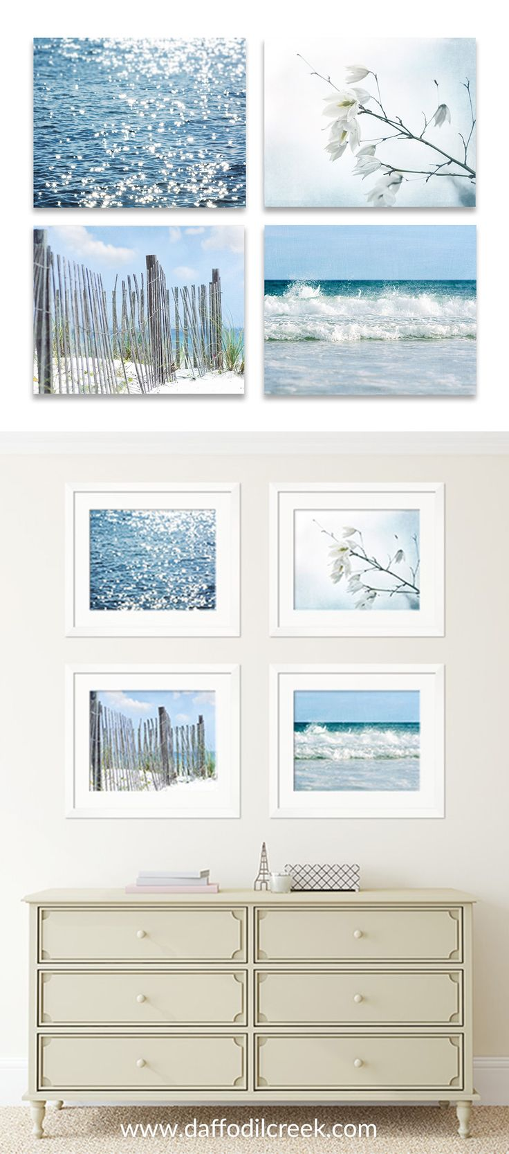 Rustic Coastal Gallery Wall - Beach Cottage Wall Décor - A fresh and sparkly take on beach décor! This set offour rusticblue toned coastal prints will make a perfectly fresh statement for your gallery wall!