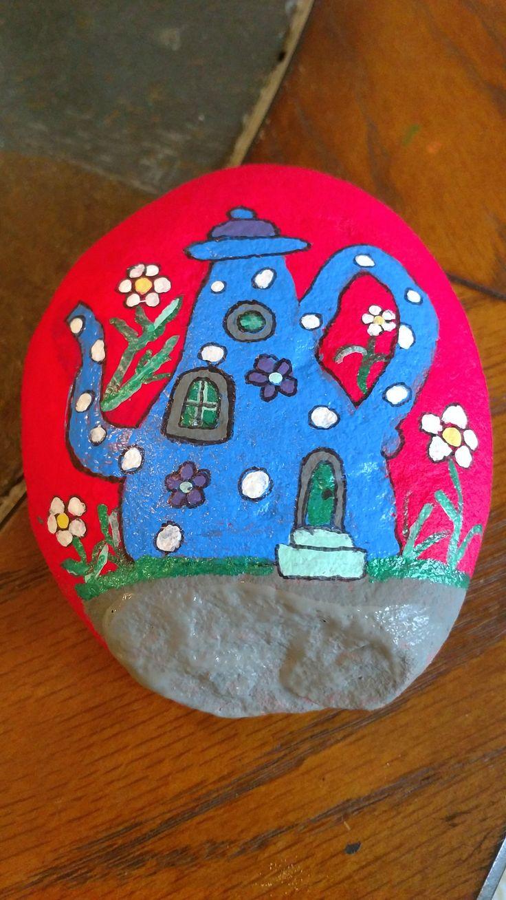 Teapot painted rock