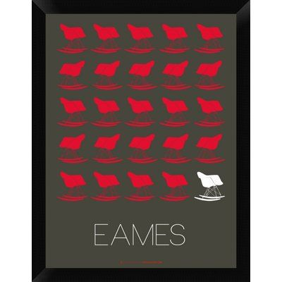 "Naxart 'Eames Red Rocking Chair Poster' Framed Graphic Art Print on Canvas Size: 26"" H x 20"" W x 1.5"" D"