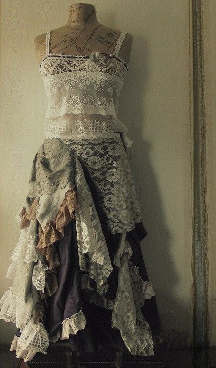 love all the lace, crochet, layers..