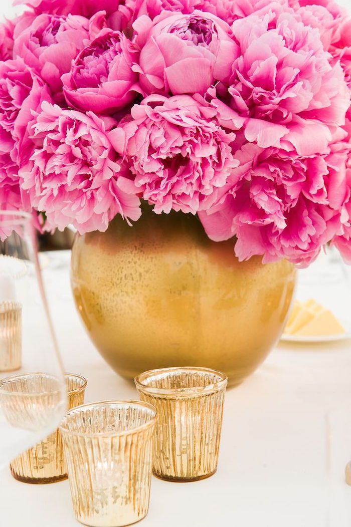 Pink and gold wedding centerpiece; Featured Event Design: Collection 26