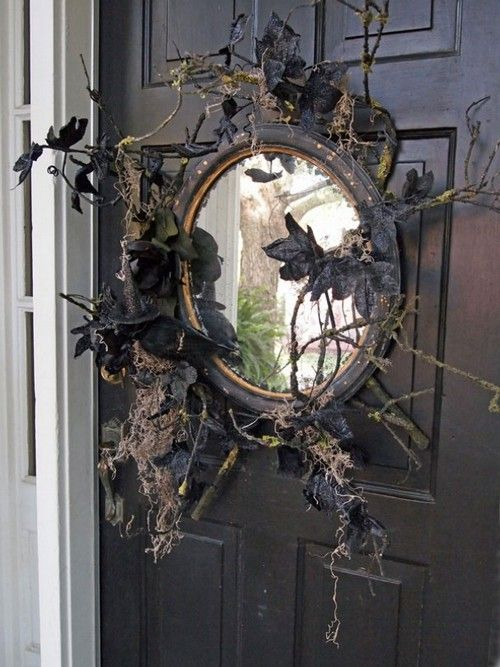 35 Amazing Vintage Halloween Décor Ideas : Vintage Halloween Décor Ideas With Black Wooden Door And Mirror Ornament
