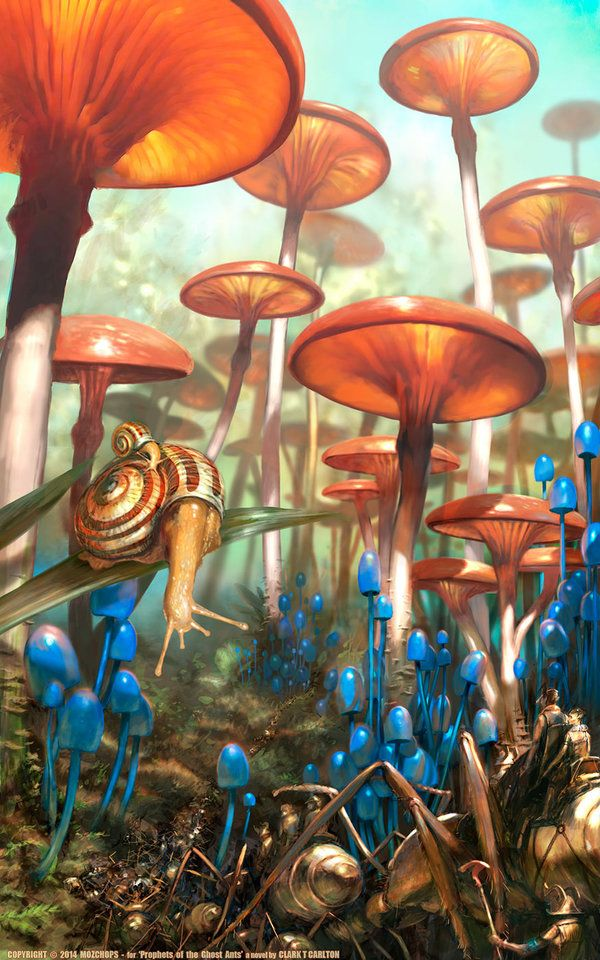 Mushroom Landscape - (Prophets of the Ghost Ants) by m0zch0ps landscape location environment architecture | Create your own roleplaying game material w/ RPG Bard: www.rpgbard.com | Writing inspiration for Dungeons and Dragons DND D&D Pathfinder PFRPG Warhammer 40k Star Wars Shadowrun Call of Cthulhu Lord of the Rings LoTR + d20 fantasy science fiction scifi horror design | Not Trusty Sword art: click artwork for source