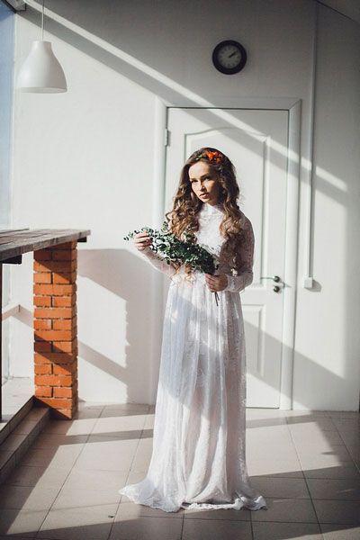 Белое кружевное свадебное платье с длинными рукавами :: Узнать цены и заказать в Уфе